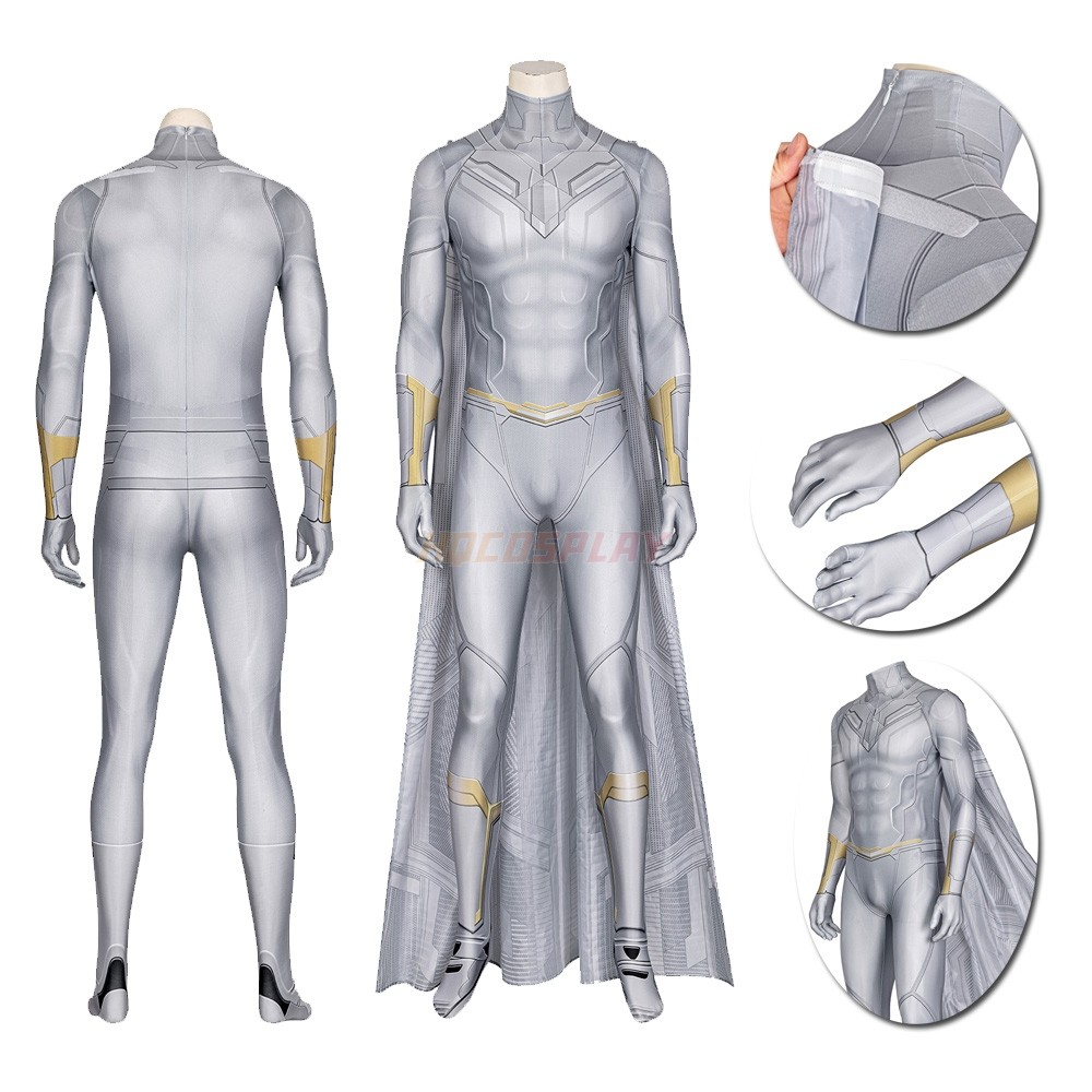 Wanda Vision White Vision Cosplay Costume Spandex Jumpsuit with Cloak