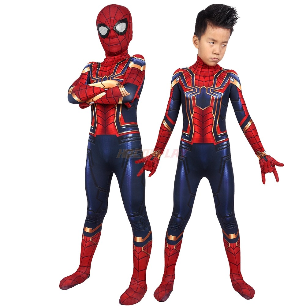Kids Spider-man Cosplay Suits Avengers Endgame Iron Spider Man Costumes