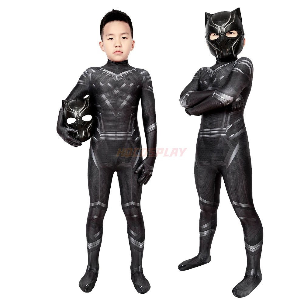 Kids Captain America Cosplay Suit Civil War T'Challa Black Panther Spandex Costumes