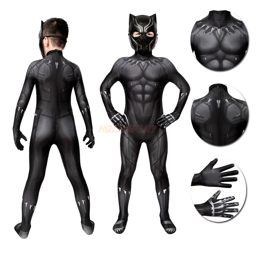 Marvel's Captain America Black Panther Cosplay Costume for Kids