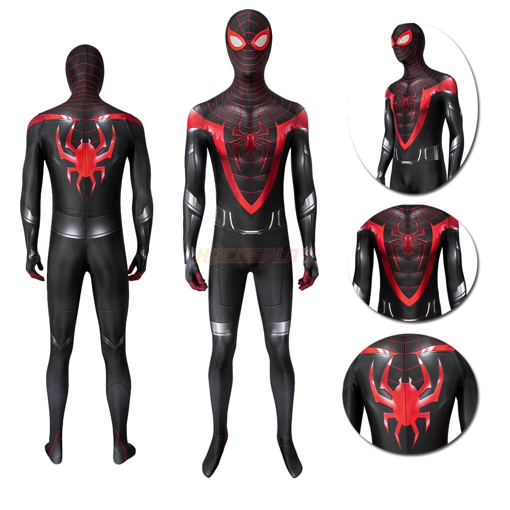 Spider-man PS5 Suits Miles Morales  Black&Red Cosplay Costume