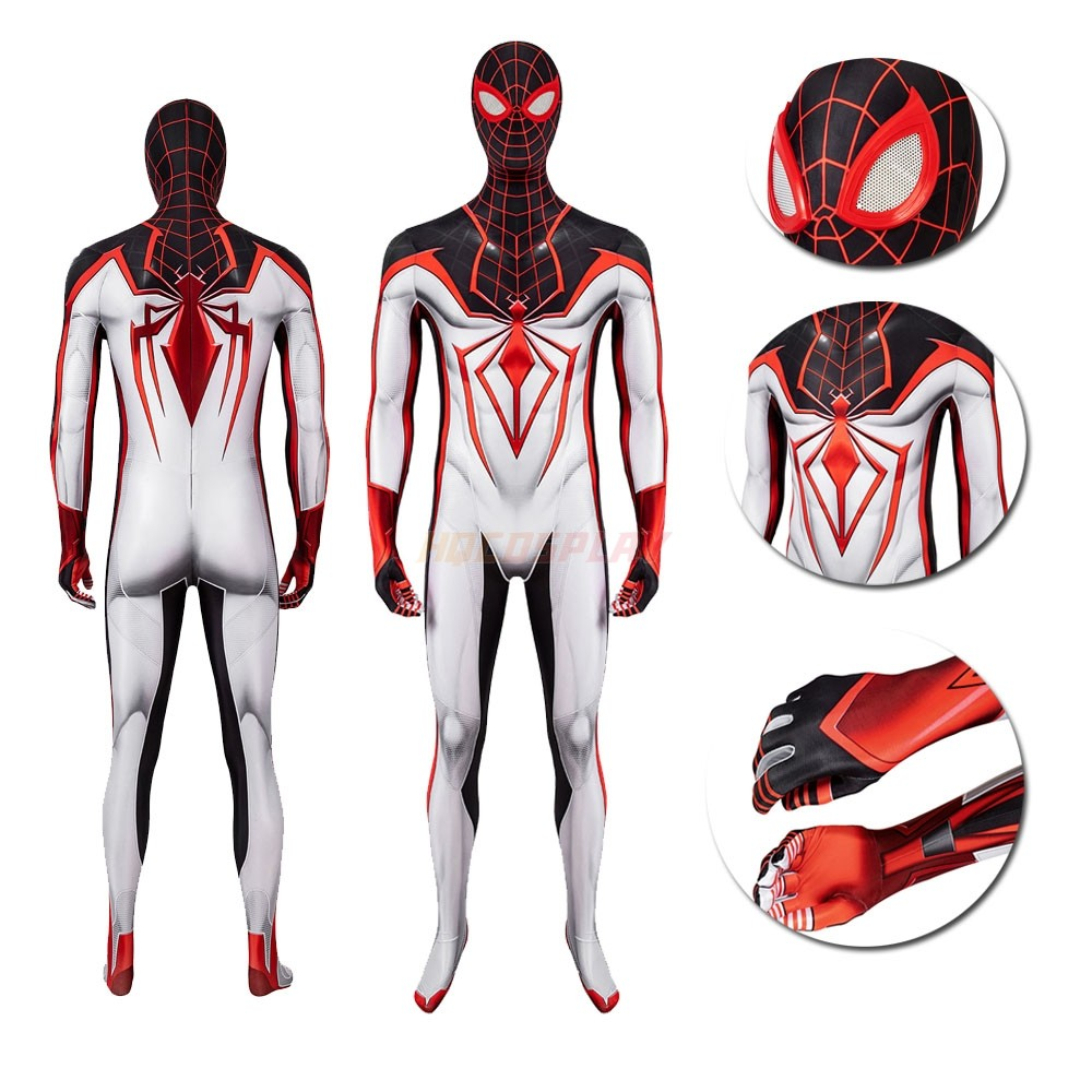 PS5 Spider-man Suits Miles Morales TRACK Black&White Cosplay Costume
