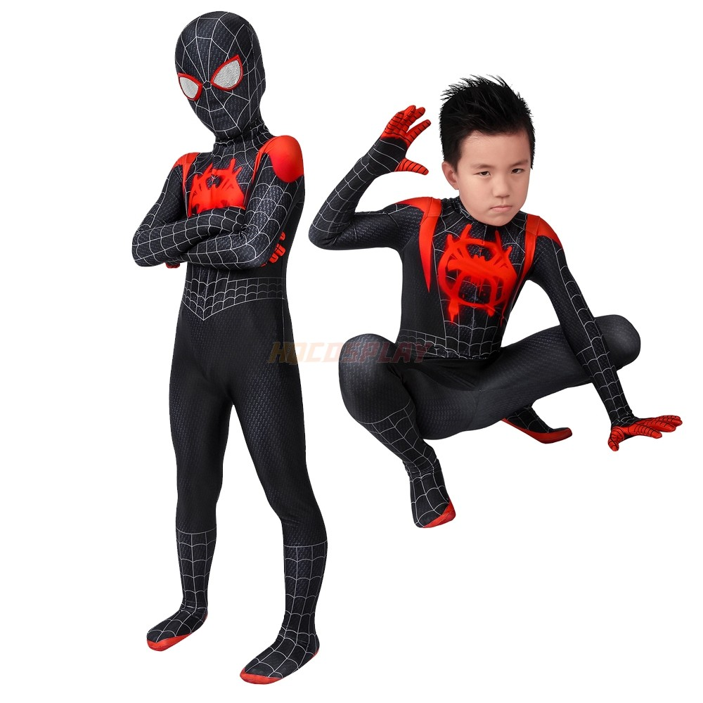 Kids Spider-Man Suits Into the Spider-Verse  Miles Morales Cosplay Costume