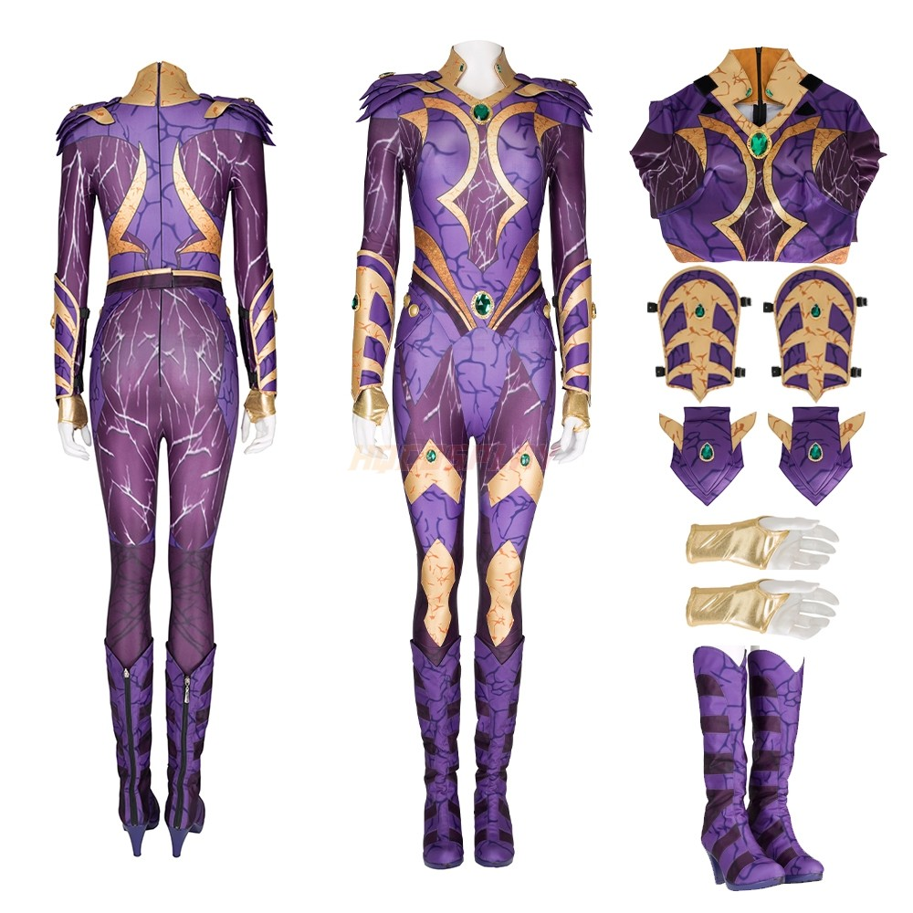 Starfire Cosplay Suits Titans Purple Leather Female Cosplay Costumes