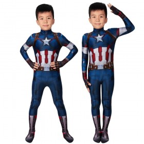 Kids Captain America Cosplay Costume Avengers II Age of Ultron Cosplay Suits for Children