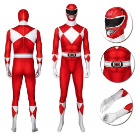 Red Ranger Jason Cosplay Suit Power Rangers Spandex Printed Costumes