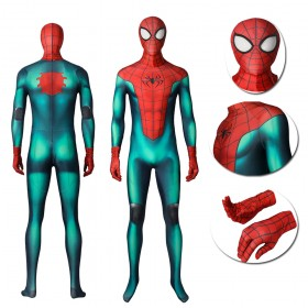 Green&Red Spider-Man Cosplay Costume Miles Morales Great Responsibility Suit