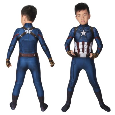 Kids Captain America Cosplay Suits Avengers4 Endgame Steven Rogers Cosplay  Costumes