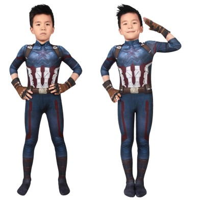 Kids Captain America Steve Rogers 3D Printed Cosplay Suits Avengers Infinity War Cosplay Costumes