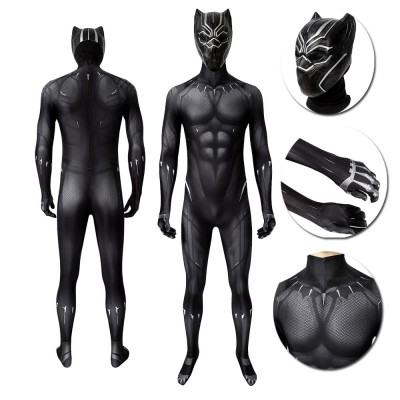 Marvel's Captain America Black Panther T'Challa Black Cosplay Costume