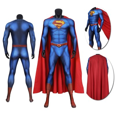 Classical Superman Suit Superman and Lois Spandex Cosplay Jumpsuit with Cloak