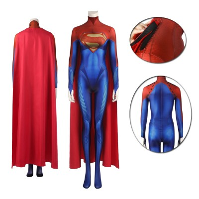 The Flash Superwoman Super Girl Cosplay Costume Female Jumpsuit with Cloak