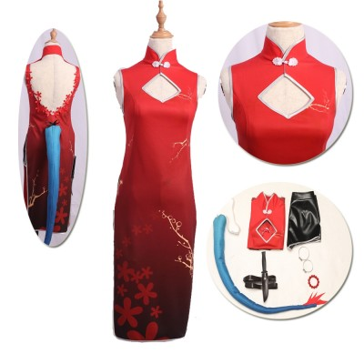 Arknights Chen Sir Suihongxia Cosplay Costumes Red Qipao Suits